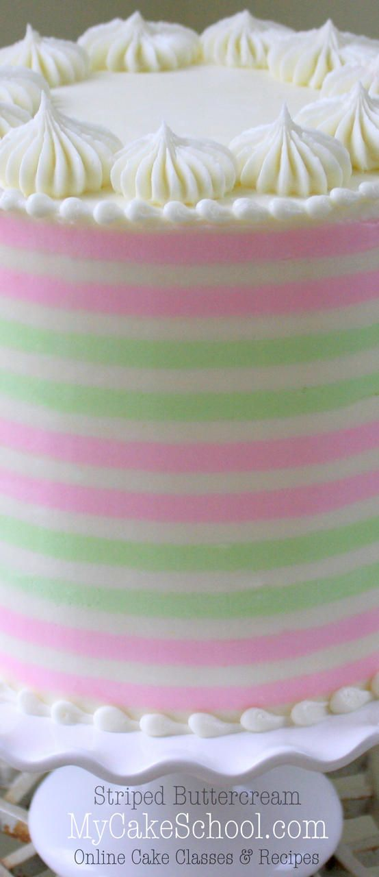 How to Create Striped Buttercream! MyCakeSchool.com Member Video Tutorial. Online Cake Decorating Tutorials & Videos!
