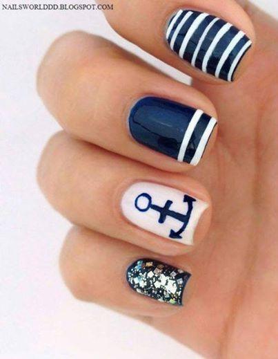 #nail design #nautical #nails #blue #nail art