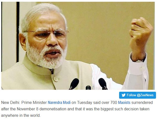 """700 Maoists surrendered since demonetisation, says PM Narendra Modi """"Prime Minister Narendra Modi on Tuesday said over 700 Maoists surrendered after the November 8 demonetisation and that it was the biggest such decision taken anywhere in the world. Get Narendra Modi's & BJP's latest news and updates with - http://nm4.in/dnldapp http://www.narendramodi.in/downloadapp. Download Now."""""""