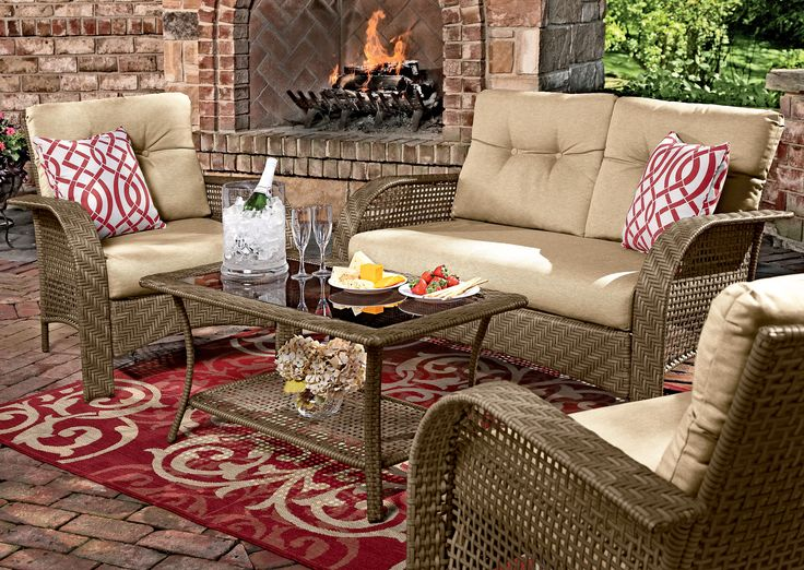 Guests will enjoy relaxing in these cushioned wicker chairs & loveseat. Get  it at Shopko. Outdoor Living - 17 Best Images About Pick Your Patio! On Pinterest Fire Pits