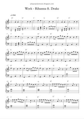 play popular music, Work, Rihanna, Drake, free piano sheet music