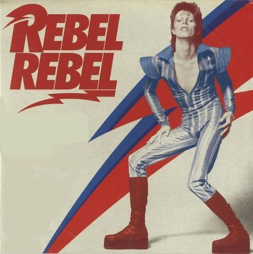 Technically a single cover, but this is too excellent not to include. Bowie's 1974 single Rebel Rebel, taken from his legendary Diamond Dogs release. Bowie poses in full Ziggy Stardust get up, red shag/mullet, knee high platforms, shoulder pads and skin tight bodysuit, perfectly applied makeup and the iconic lightning bolt. Seriously cool.