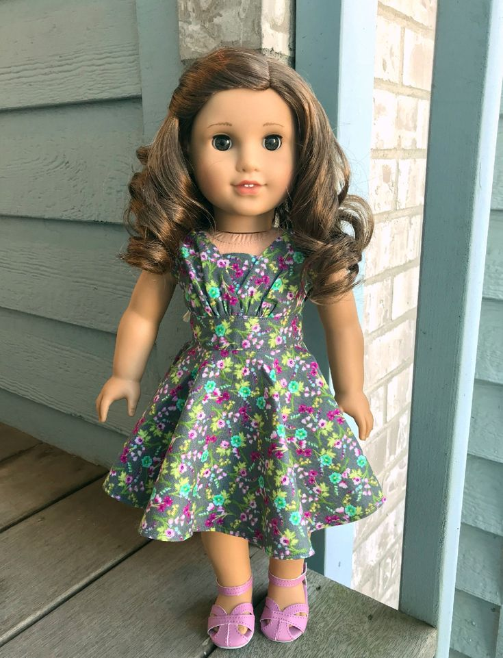 Gray floral 50's dress for 18 inch dolls - 50's fancy dress for 18 inch dolls