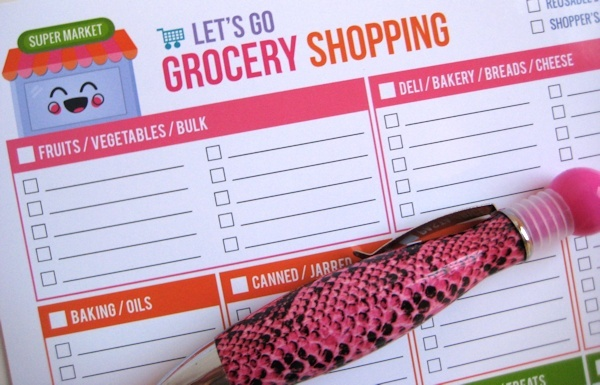 Free Printable Lets Go Shopping Grocery List from Hello, Cuteness!