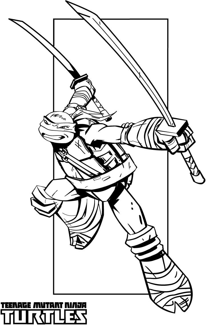 Teenage Mutant Ninja Turtles Coloring Pages Leonardo Ninja