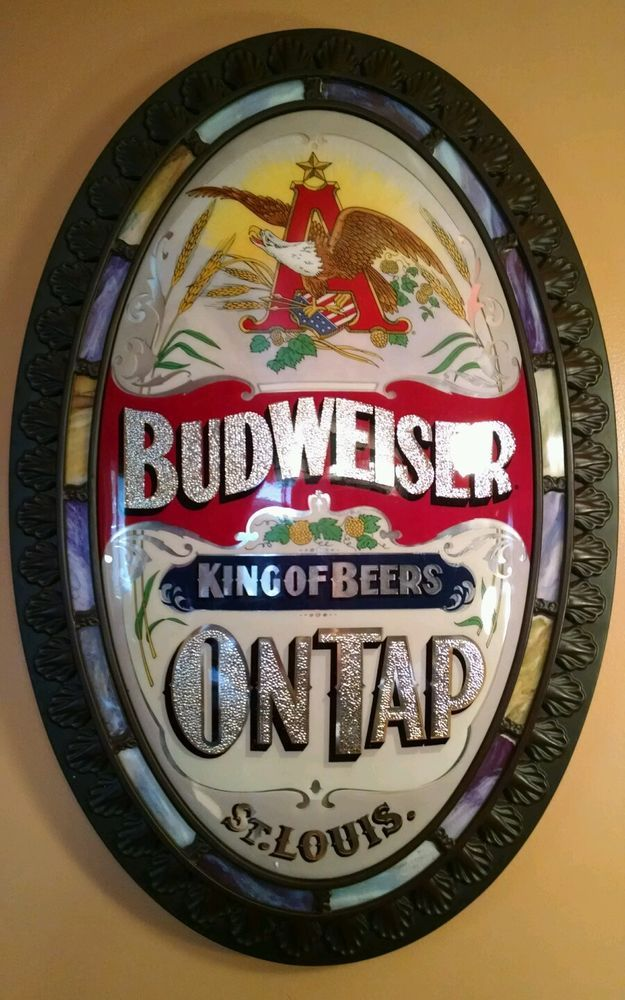 Vintage Anheuser Busch Budweiser Oval Stained Glass Look
