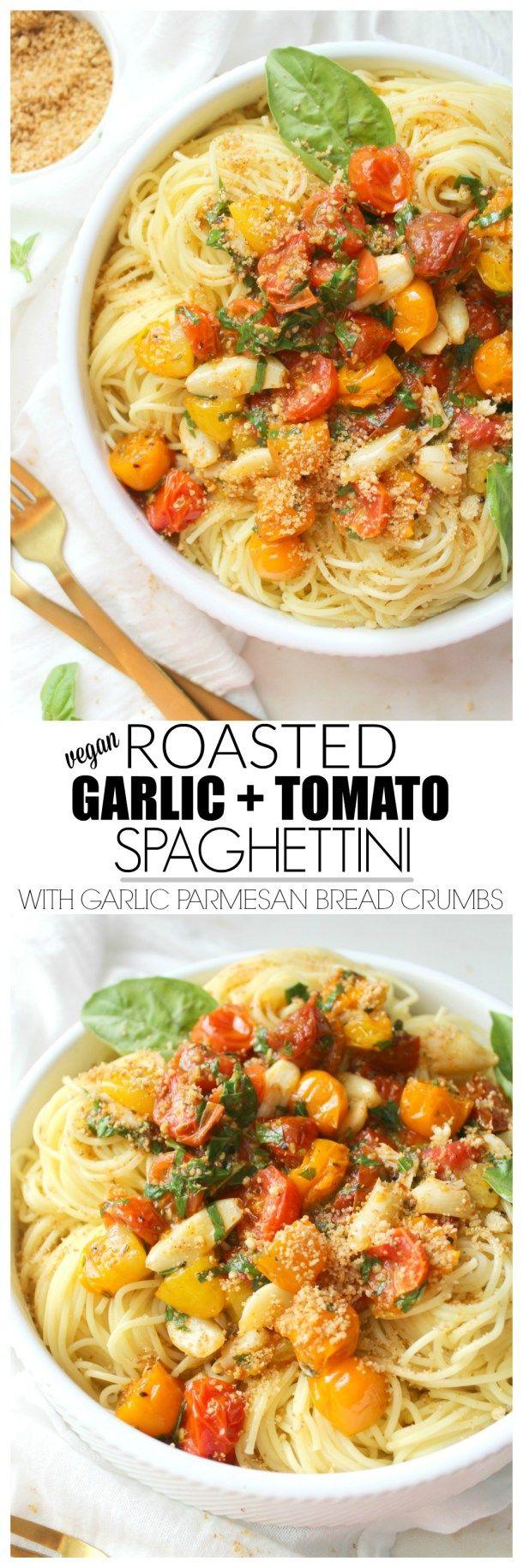 Roasted Garlic Tomato Spaghettini with Garlic Parmesan Bread Crumbs | ThisSavoryVegan.com