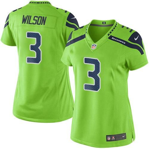 #NikeSeahawks #3 #Russell #Wilson Green Women's #Stitched #NFL Limited #RushJersey