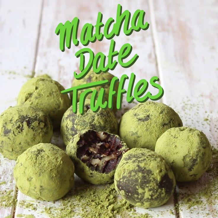 Dense, fudgy chocolate date truffles with chunks of walnuts, coated in green tea powder.