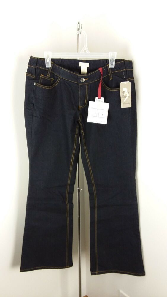 0af93ed2374ad NWT Three Seasons Maternity Wise Fit Dark Wash Boot Cut Jeans Sz XL Inseam  30 R7
