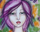 Mixed Media Whimsical Portrait by artist Karen Campbell of Cool Mama Crafts.  Prints for sale on etsy, SHIPS FREE!