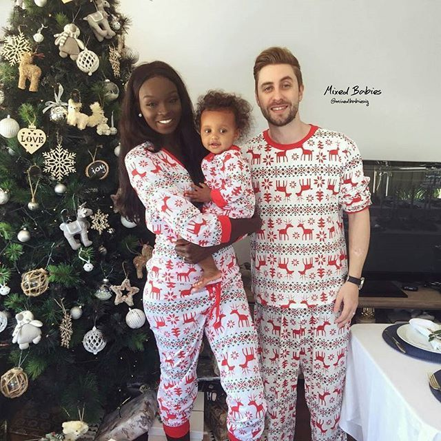 Adorable interracial family Christmas photo #love #wmbw #bwwm