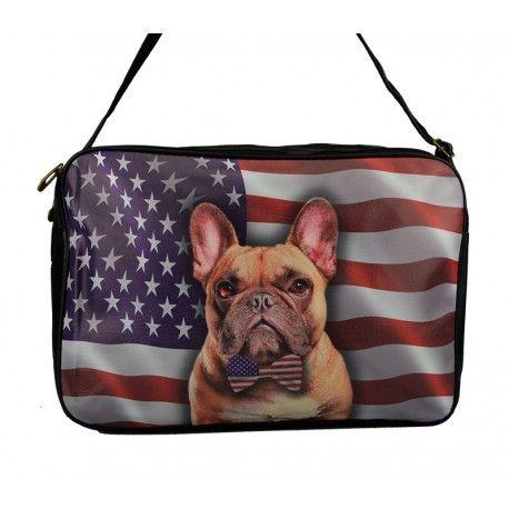 Stor taske med en lille fransk bulldog og Stars and Stripes flag