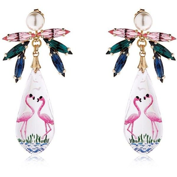 Anton Heunis Women Pandora's Box Flamingo Earrings (£200) ❤ liked on Polyvore featuring jewelry, earrings, multicolor, multi colored earrings, colorful earrings, tri color earrings, nickel free earrings and colorful jewelry