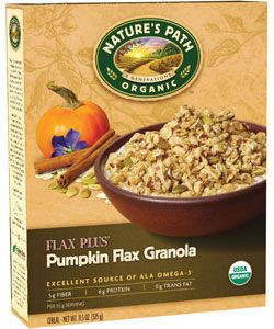 Nature's Path Flax Plus® Pumpkin Flax Granola | 11.5 oz. box | Enriched with pumpkin and flax seeds to offer up an impressive 450 mg of Omega-3 fatty acids and 1500 mg of Omega-6 fatty acids.This product is great!! I mix it with my cereal in the morning.