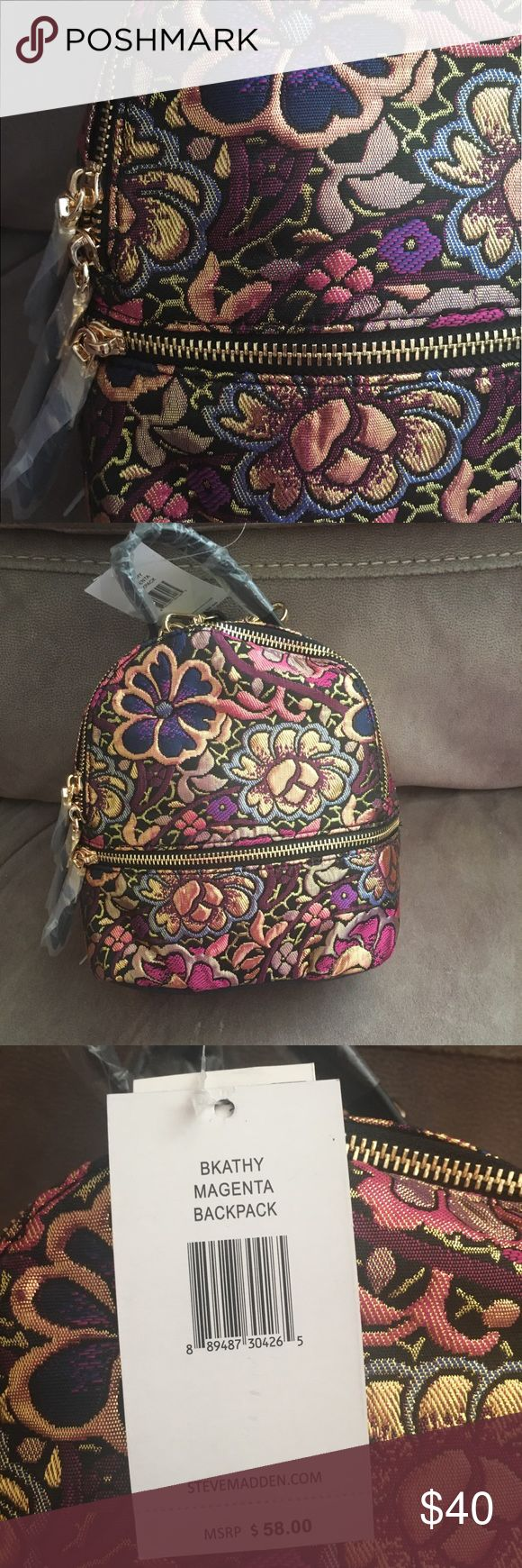 "Steve Madden Small Backpack Small sized backpack 7-1/2""W x 8-1/2""H x 4""D  11-1/2"" Removable straps  Good tone zippers  Brand new with tags and plastic still on Steve Madden Bags Backpacks"