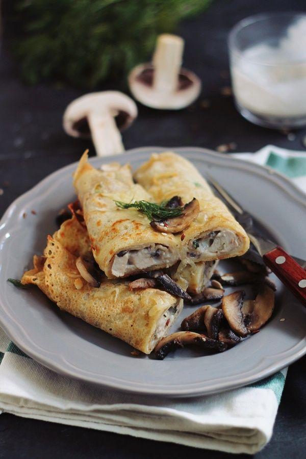 Clatite umlute cu pui, ciuperci si smantana, gratinate | Pasiune pentru bucatarie
