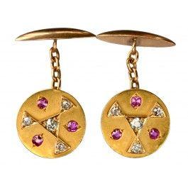 1890s Geometric Rubies And Old Cut Diamond Cufflinks.......