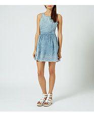 Blue (Blue) Blue Denim Embroidered Crochet Hem Dress | 304283640 | New Look