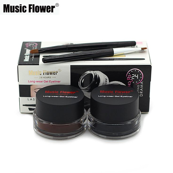 Hot Sale Brand Music Flower Brown + Black Gel Eyeliner Make Up Waterproof Smudge-proof Cosmetic Set Eye Liner Makeup + 2 Brushes