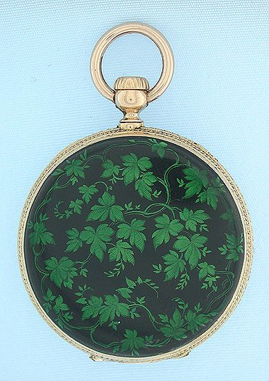 Beautiful and rare Patek Philippe 18K gold and enamel early stemwind ladies antique pendant watch circa 1855.
