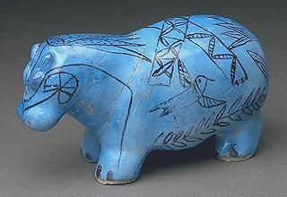 Hippopotame bleu, faïence funéraire égyptienne - Musée du Louvre