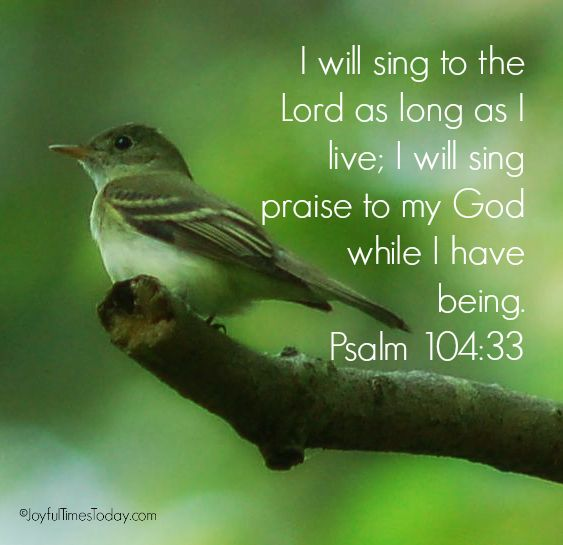 I will sing to the LORD as long as I live; I will sing praise to my God while I have my being. (Psalm 104:33 NAS) https://www.facebook.com/TrustintheLord356/photos/1380136662040429