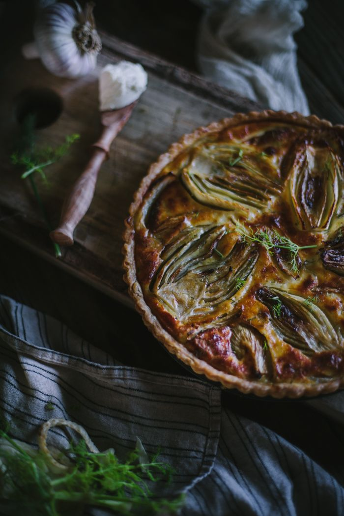 Caramelized Fennel and Goat's Cheese Tart by Eva Kosmas Flores | Adventures in Cooking (maybe I could eat eggs if this is the combination?)