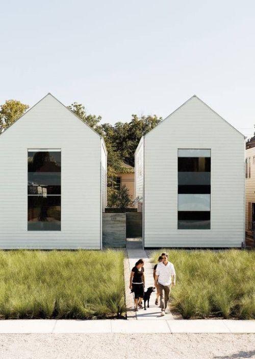 architecture, exteriors, white siding, twin houses