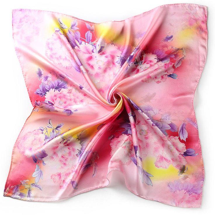 "26"" Small Square 100% Silk Scarf Women Neckerchief Shawl Wrap Pink Red S116-015"