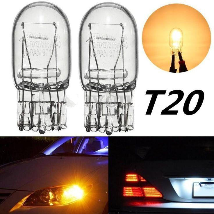 2 unids T20 7443 7440 W21/5 W Corriente Diurna Bombilla Halógena De Vidrio Transparente luz de Señal de Vuelta de la Luz de Parada de Freno de la Cola Bombilla DRL Bombillas 3800 K