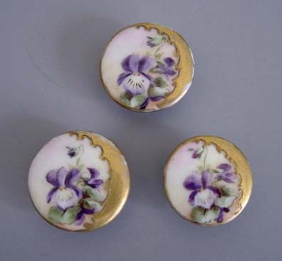 """VICTORIAN hand painted porcelain buttons with viola design, set of 3, approximately 1"""" each."""