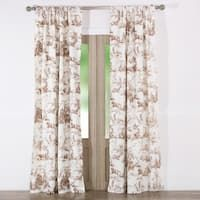 Classic Toile Taupe Curtain Panel Pair with Tiebacks (Set of Two Panels)