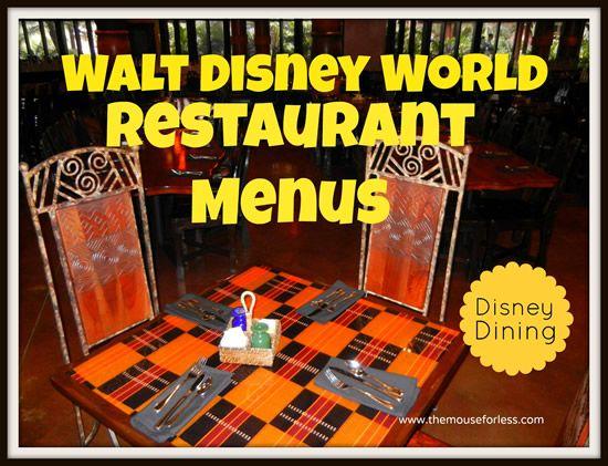 Walt Disney World Menus - Restaurant & Dining Menus for Walt Disney World Theme Parks, Resorts & Disney Springs. Disney Food photos and Restaurant Reviews
