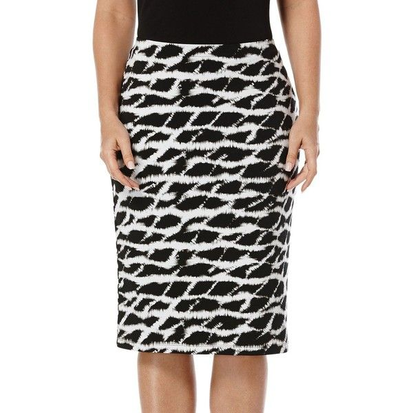 Rafaella Petites Petite Patterned Pencil Skirt ($58) ❤ liked on Polyvore featuring skirts, black, petite, pencil skirt, patterned pencil skirt, print skirt, print pencil skirt and patterned skirts