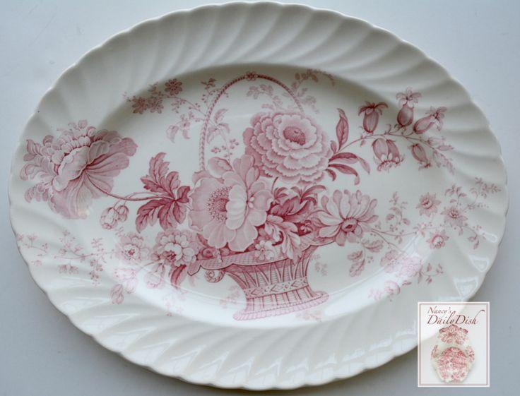 Red Transferware Victorian Platter Basket of Roses Charlotte