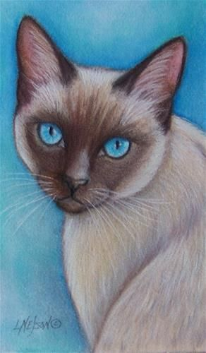 "Daily Paintworks - ""Siamese Cat"" - Original Fine Art for Sale - © Lisa M. Nelson"