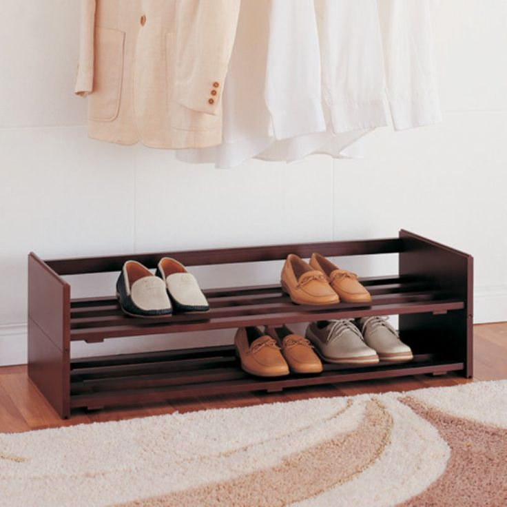constructed out of a rich mahogany finish this 2 tier shoe rack is ideal for placing on the bottom of your closet
