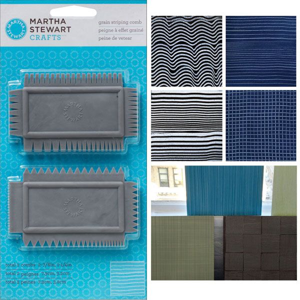 Martha Stewart Grain Striping Comb / 1set Martha Stewart Tools by Plaid is a line filled with tools for every project, because using the correct tool always makes crafting easier. Grain Striping Comb 2pc- Achieve a variety of combed effects. Eight distinct striping patterns available on 2 combs.  #id15956