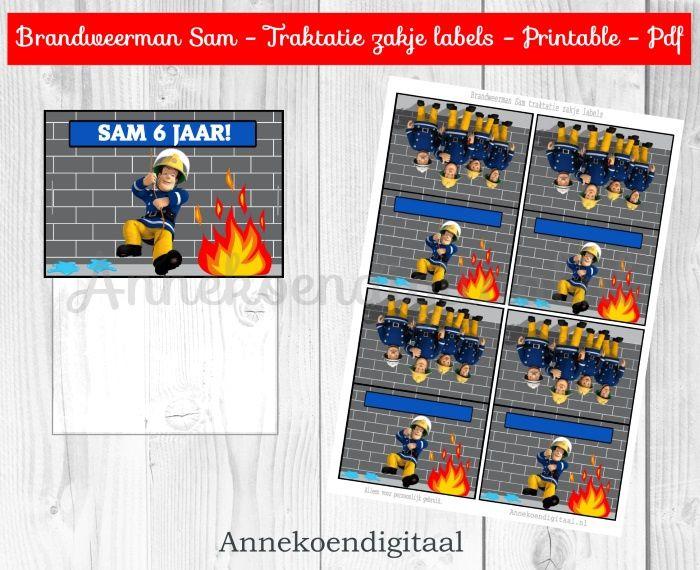 Brandweerman Sam traktatie zakje label