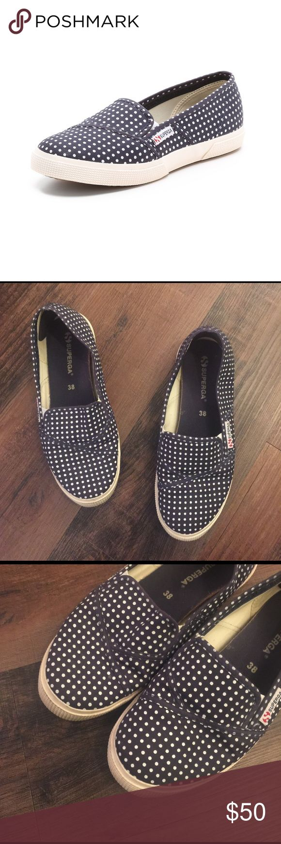 Superga Navy Blue Polka Dot Slip On Sneakers Superga Navy Blue Polka Dot Slip On Sneakers.  Some wear on the soles but overall good condition.  Size 38. Superga Shoes Flats & Loafers