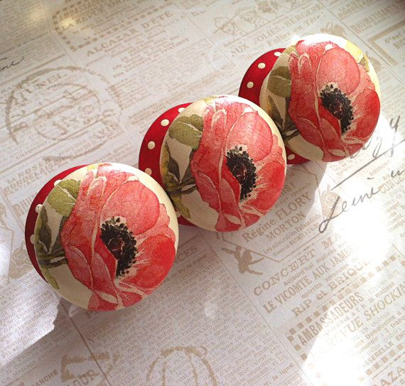 Wooden door knob made with Red Poppy design -  50 mm - for drawers, wardrobes, bedside & kitchen cabinets