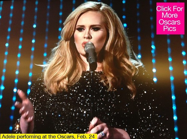 Adele's Oscars Performance: 'Skyfall' Steals The Show.......................................................Oscars 2013: Adele contemplates musicals after Skyfall win: http://www.telegraph.co.uk/culture/film/oscars/9891965/Oscars-2013-Adele-contemplates-musicals-after-Skyfall-win.html Adele: Oscars 2013 Performance of 'Skyfall' - WATCH NOW!  http://www.justjared.com/2013/02/24/adele-oscars-2013-performance-of-skyfall-watch-now/