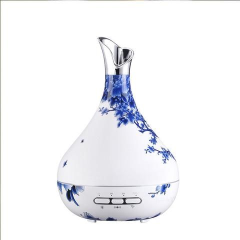 White and Blue Essential Oil Diffuser for Aromatherapy.