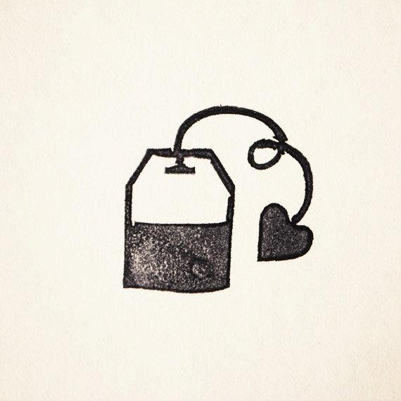 Tea Bag Rubber Stamp