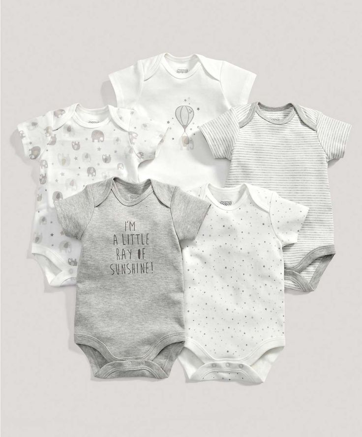 Unisex Essentials Five Pack of Neutral Printed Bodysuits - 3 For 2 Baby Basics - Mamas & Papas