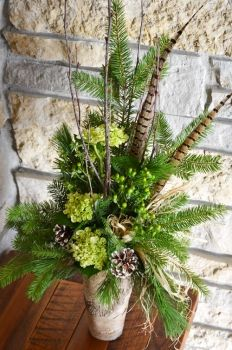 A Walk in the Woods by Trig's Floral and Home----Could substitute fox tail fern for the evergreens----.