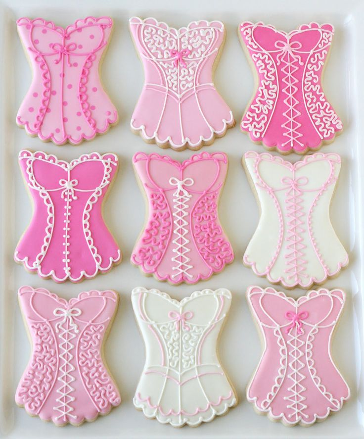 Pink lingerie cookies for bachelorette party