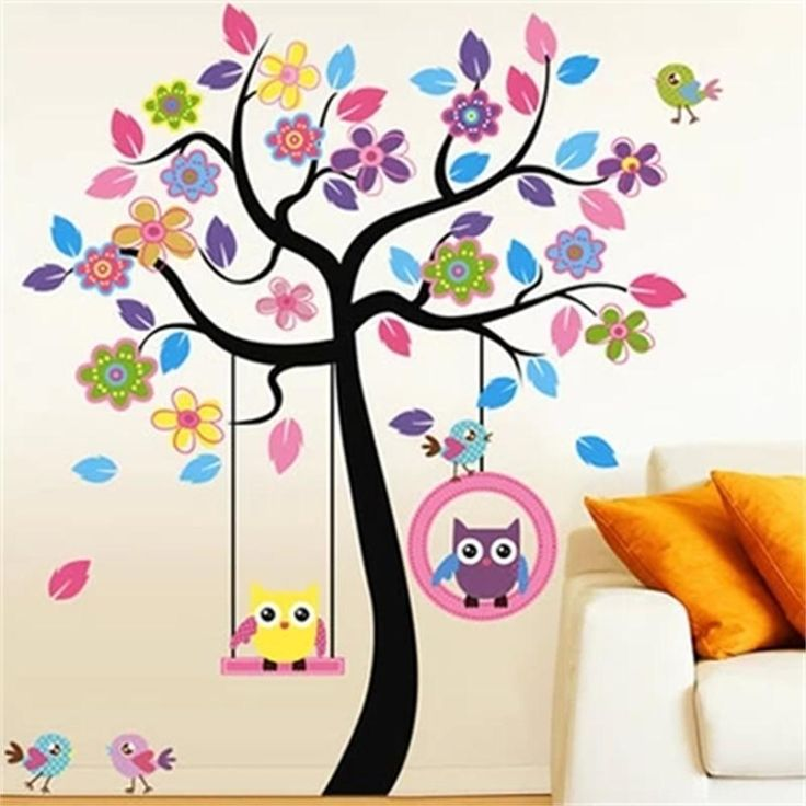 Grandes Con Dibujo De Búho Swing árbol extraíble Pared de vinilo adhesivo para niños vivero dormitorio calcomanía in Casa y jardín, Decoración para interiores, Calcomanías, autoadhesivos e img. art.   eBay