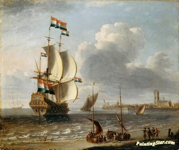 A dutch east-indiaman off hoorn Artwork by A Castro Lorenzo Hand-painted and Art Prints on canvas for sale,you can custom the size and frame